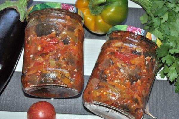 "Салат из баклажанов ""Бакат"" на зиму: рецепт с фото пошагово"