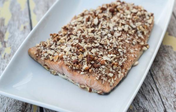 Лосось в духовке с медом и миндалем   супер простой рецепт запеченного в духовке лосося